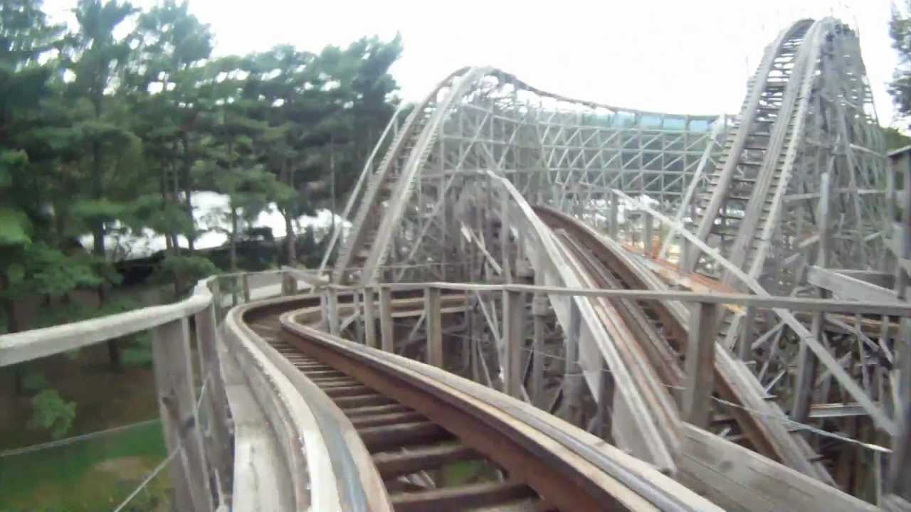 Tivoli World Amusement Park Twister Pov Knoebels Wooden Roller Coaster Front Seat View