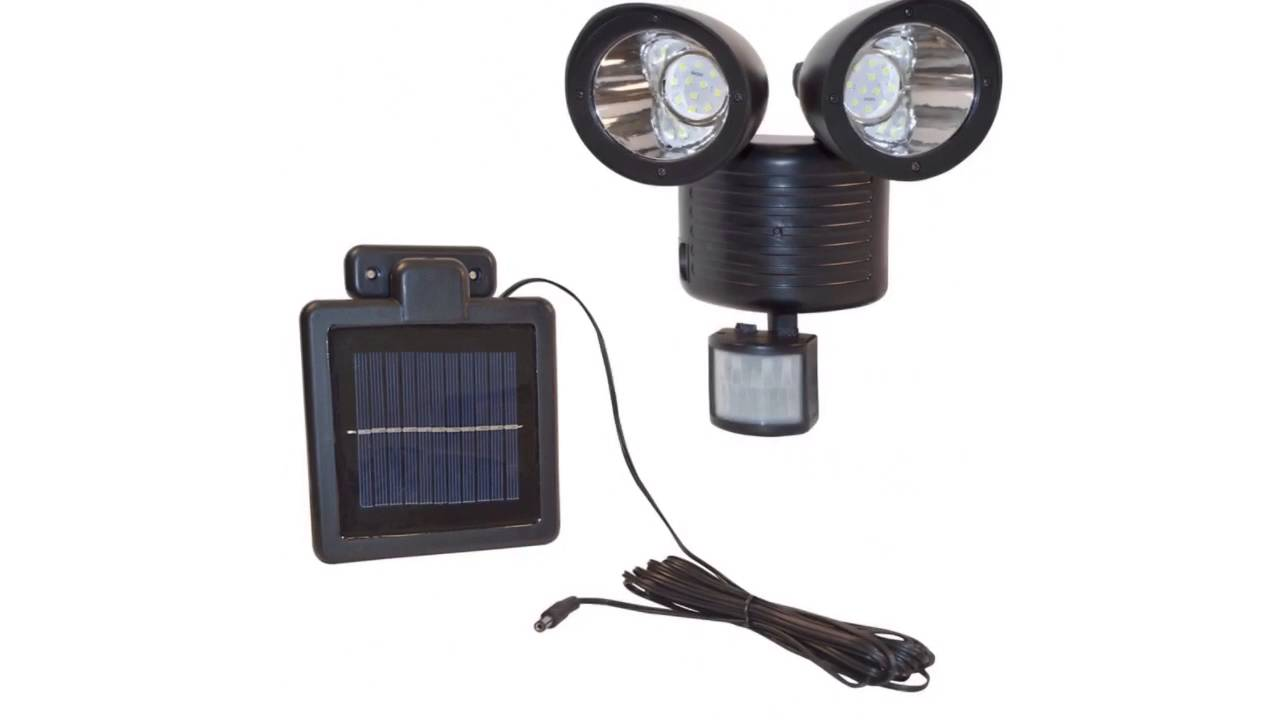 Aleko smsl22led twin head 22led solar powered security light motion aleko smsl22led twin head 22led solar powered security light motion sensor light youtube aloadofball Choice Image
