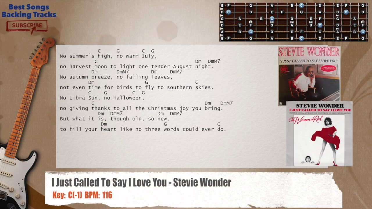 I Just Called To Say I Love You Stevie Wonder Guitar Backing Track