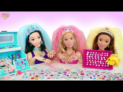 Giant Barbie Styling Head Dolls Princess Makeover! Raksasa Boneka Barbie Putri  Gigante Princesa
