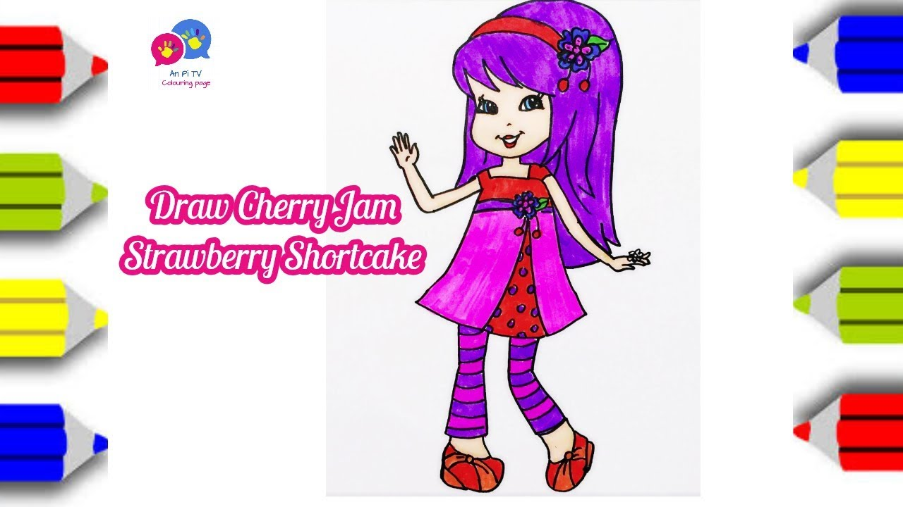 how to draw cherry jam from strawberry shortcake coloring page