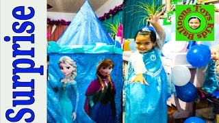 disney frozen videos super giant surprise castle tent worlds biggest ever elsa anna let it go wand
