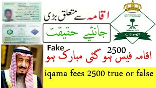 iqama fees 2500 in saudi arabia latest news Fake News