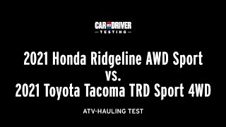 homepage tile video photo for Redesigned 2021 Ridgeline vs. 2021 Tacoma: Hauling Strength