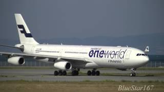 [Oneworld] Finnair Airbus A340-300 (OH-LQE) landing at KIX/RJBB (Osaka - Kansai) RWY 06L
