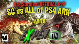 ARK SURVIVAL PVP OFFICIAL SPACE COWBOY'S ON DEFENSE AGAINST SBF ON THE CENTER  (RATED M)(PS4PRO