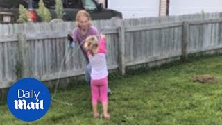 Dawn runs around the garden with long lost niece Stella - Daily Mail