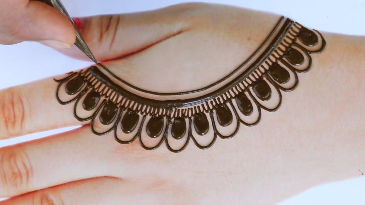 latest gold ki Mehandi design-beautiful back hand Arabic Henna mehndi design-तीज त्यौहार मेहंदी डिजा