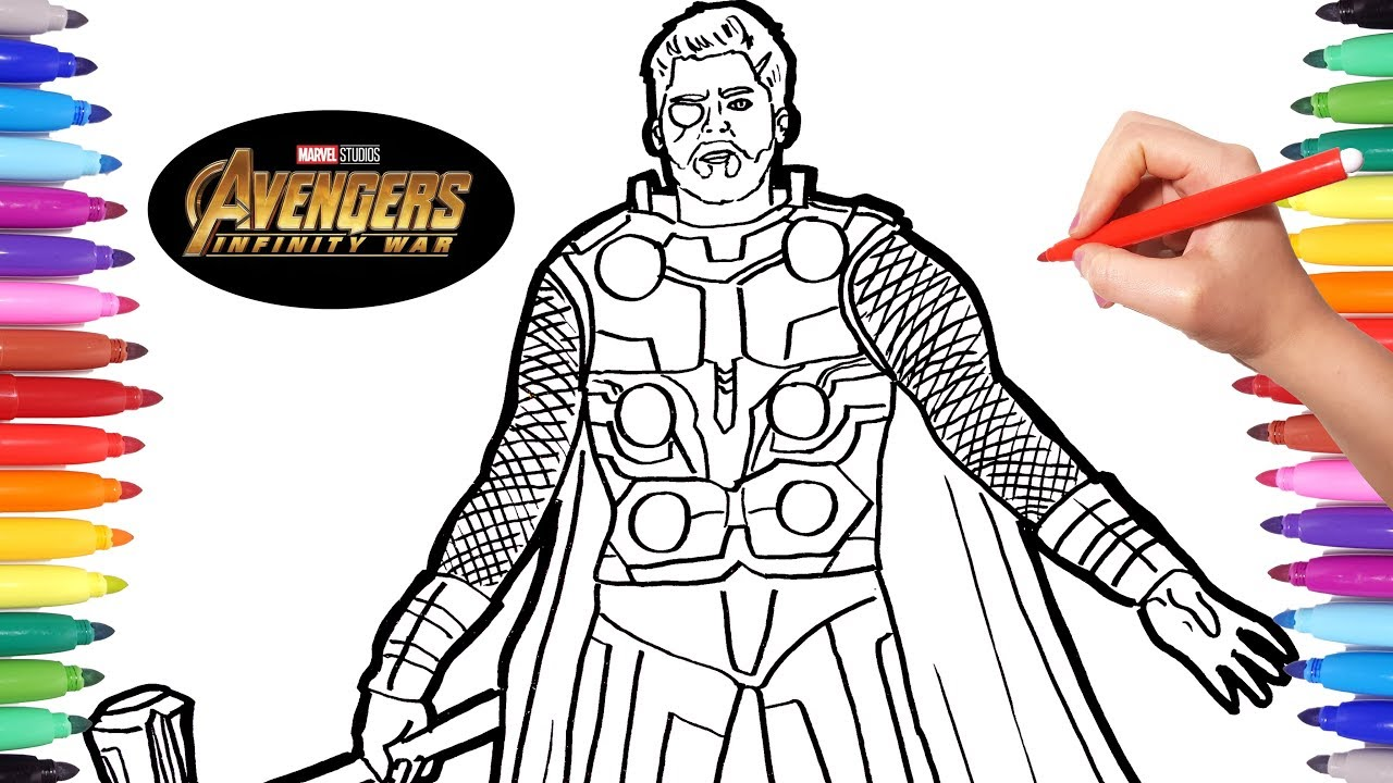 Avengers infinity war thor avengers coloring pages watch how to draw thor infinity war