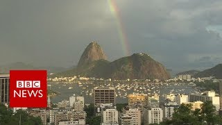 New Year rainbow graces Rio's Sugarloaf Mountain- BBC News