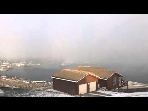 Faro Island snow over the capital