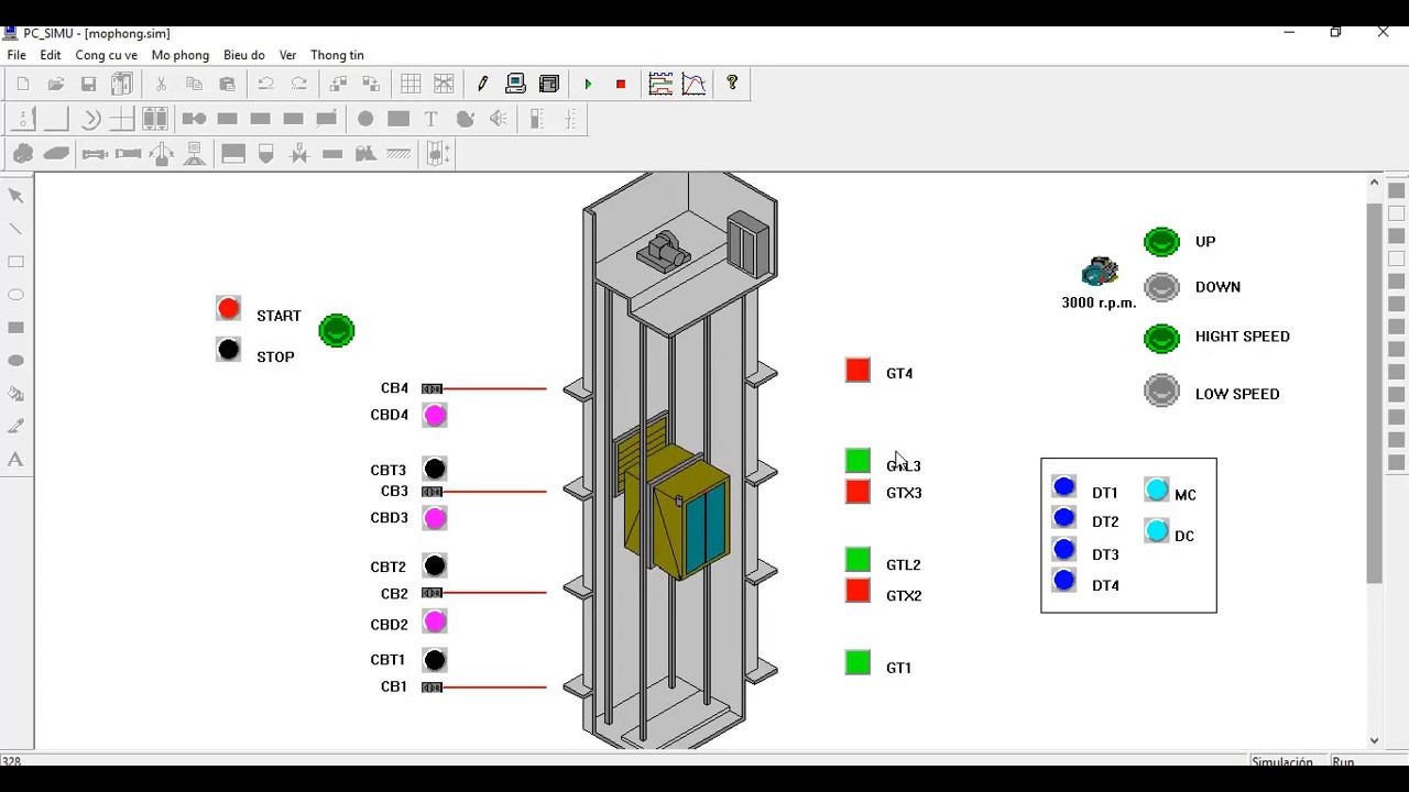 Elevator PLC Simulation- with Step7 microwin PC simu, S7-200 Siemens