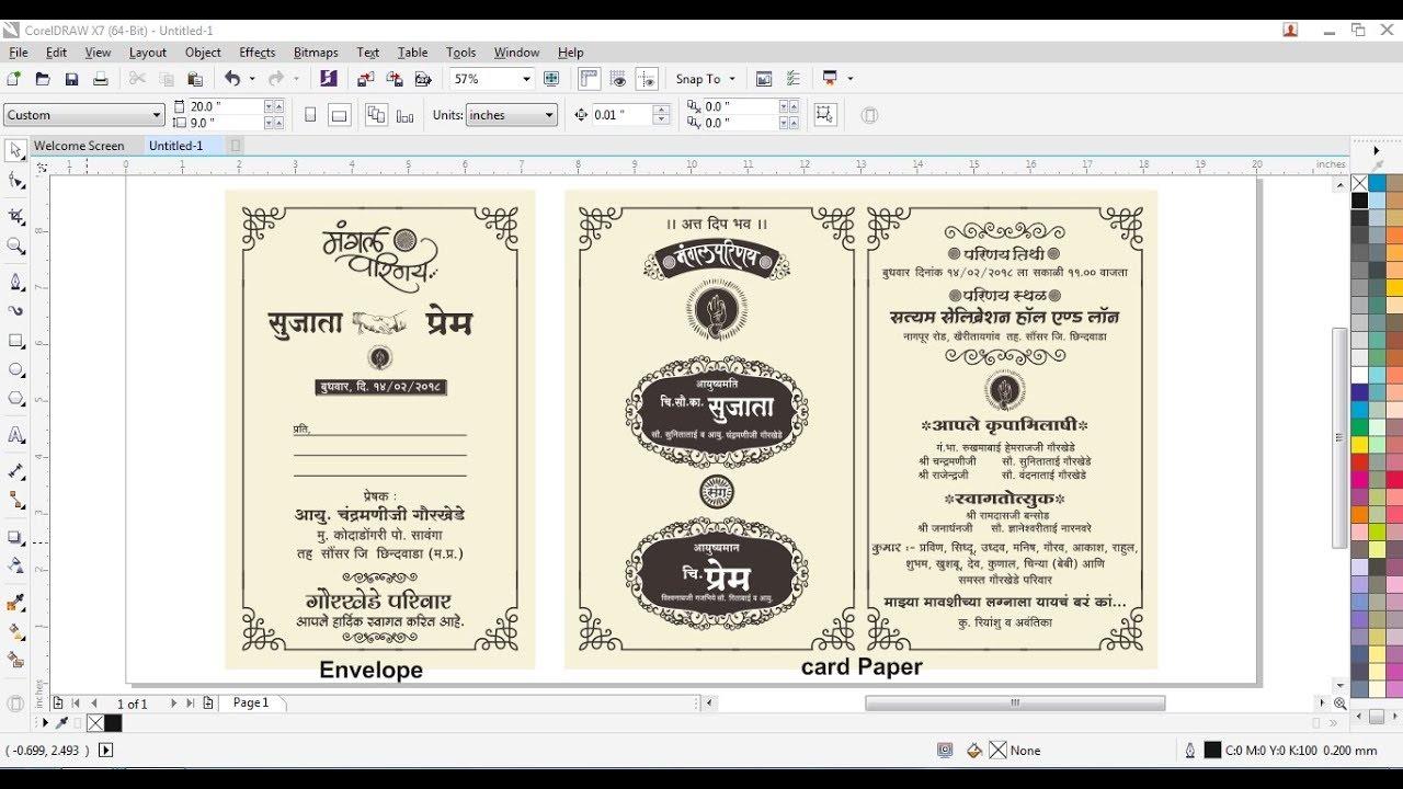 How To Make Hindi Wedding Card Design In Coreldraw X7 Youtube