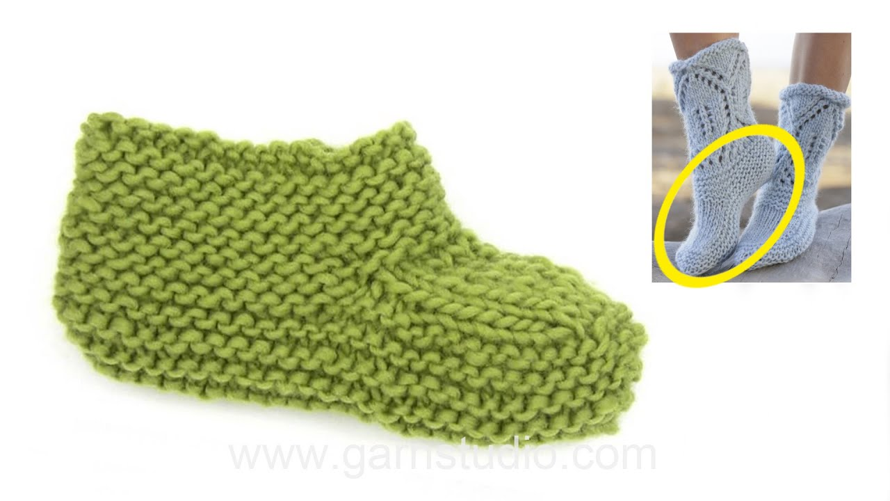 How To Knit The Foot On The Slipper In Drops 161 40 Youtube