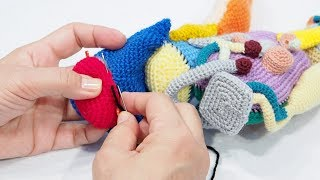Amigurumi NIKEN how-to guide video Vol.14 : Knit the underside of the front cowling