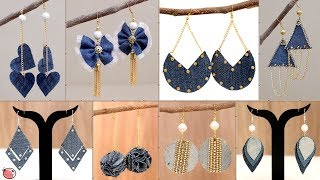 10 Best Old Clothes Reuse earrings Ideas !!! DIY Best Out of Waste Jeans Ideas