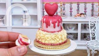Mini heart drip buttercream swirl cake! mini food ASMR
