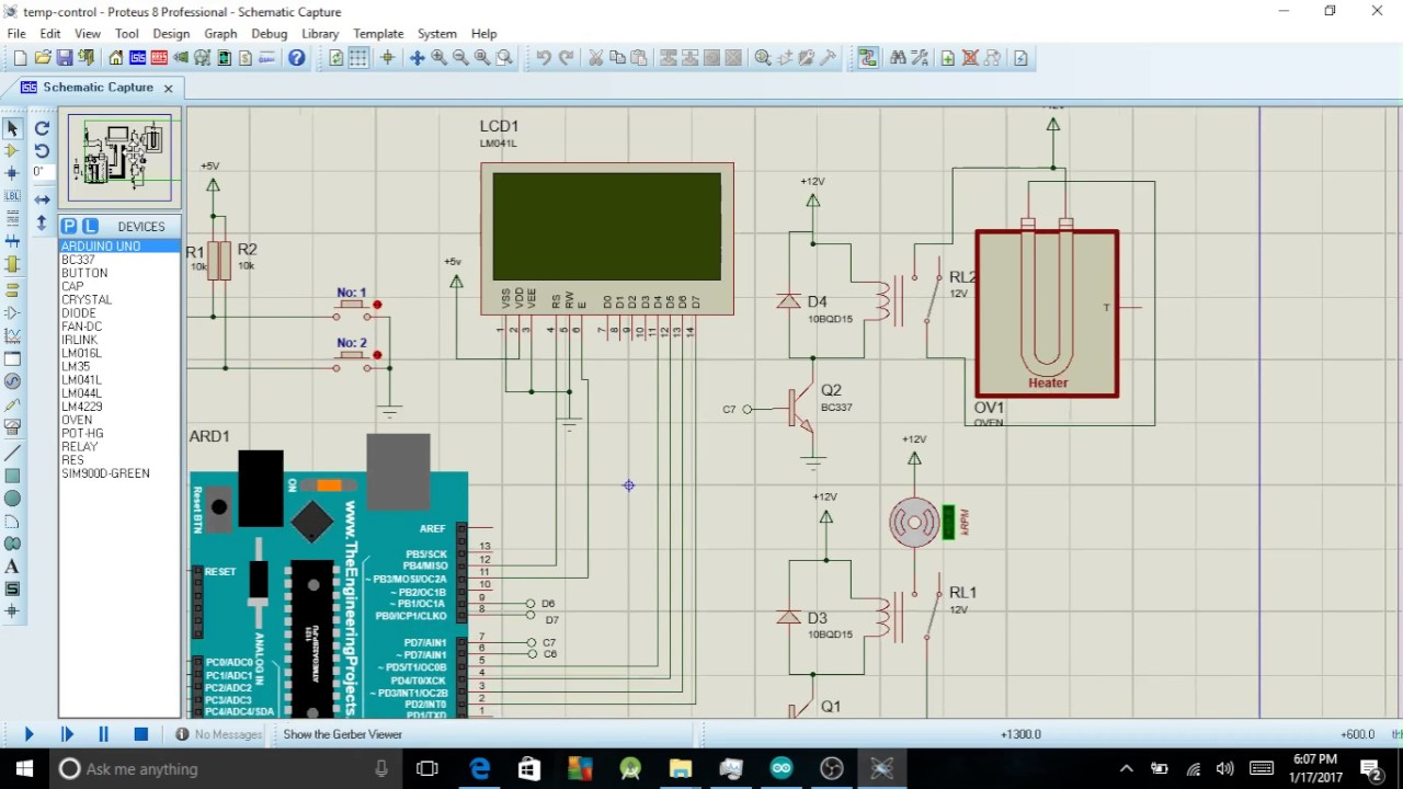Design on proteus of a Temperature control with Arduino