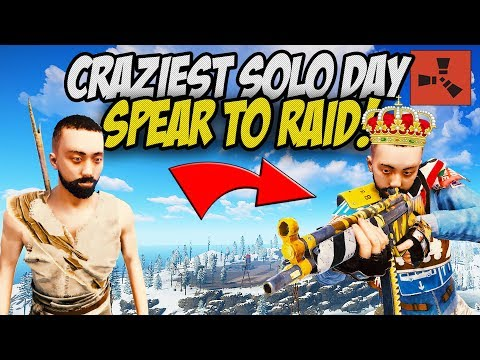 THE CRAZIEST DAY EVER! From Spear to Raid! - Rust Solo #2