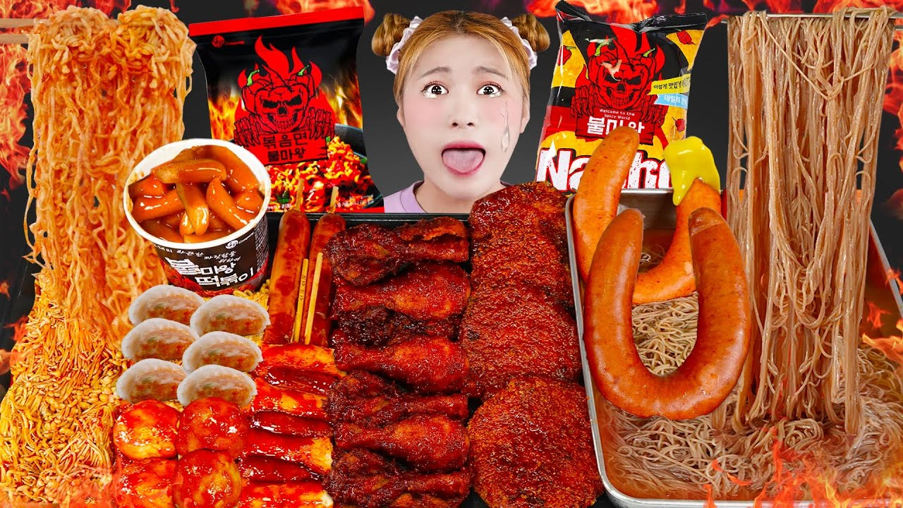 Download MUKBANG Spicy Fire Noodle Spiciest Fried chicken TTeokbokki 하이유의 매운음식 먹방! 불마왕라면 떡볶이 소세지 | HIU 하이유