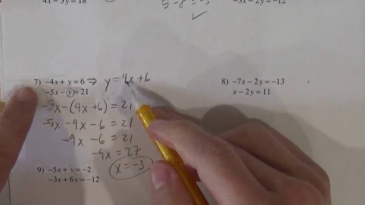 Kutasoftware Solving Systems Of Equations By Substitution Youtube