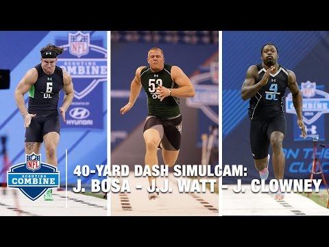 Joey Bosa vs. J.J. Watt vs. Jadeveon Clowney 40-Yard Dash Simulcam Race | 2016 NFL Combine
