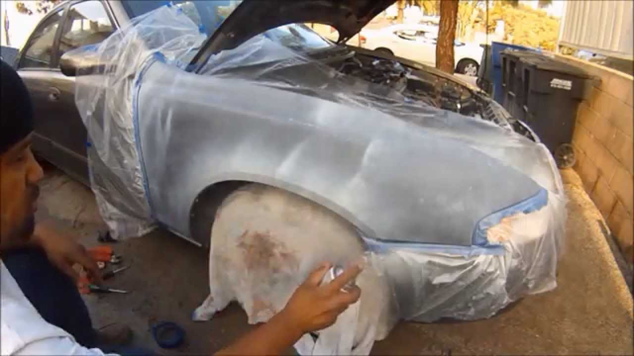 spray paint a rusty car fender how to paint a car with spray cans. Black Bedroom Furniture Sets. Home Design Ideas