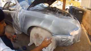 HOW 2 SPRAY PAINT A RUSTY CAR FENDER. HOW TO PAINT A CAR WITH SPRAY CANS