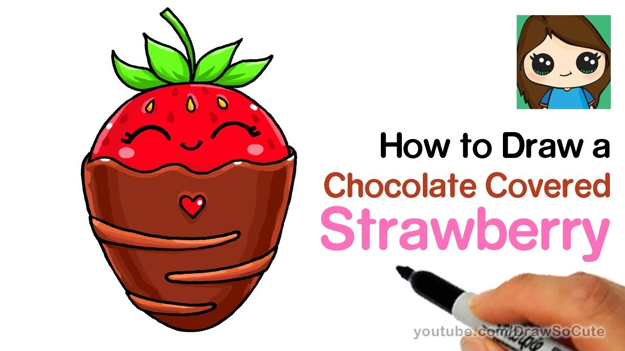 How To Draw A Chocolate Covered Strawberry Easy Cute Youtube