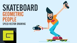 Speed Drawing, How to draw Flat Character, Electric Skateboard, Adobe Illustrator Tutorial