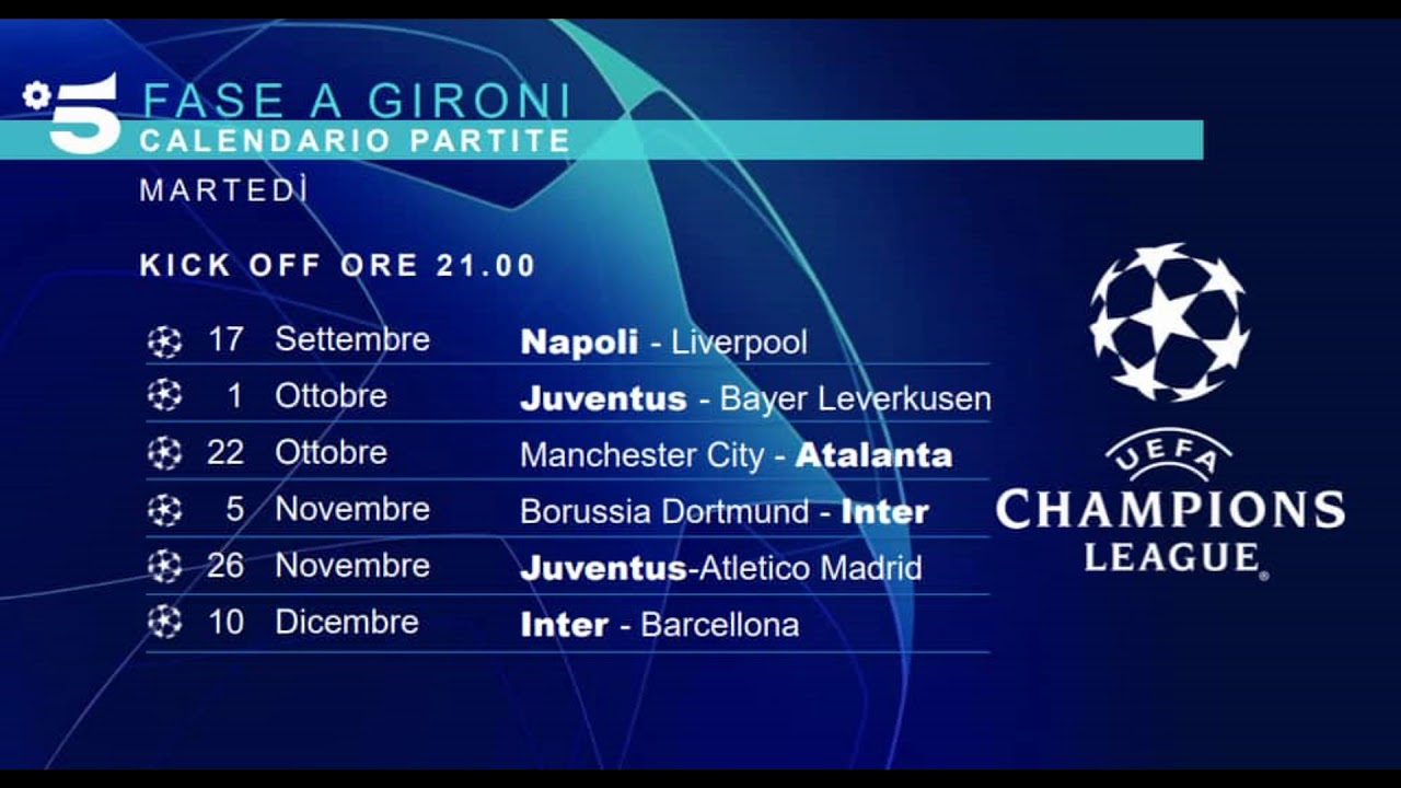 Calendario Uefa Champions League.Calendario Partite Mediaset Uefa Champions League 2019 2020
