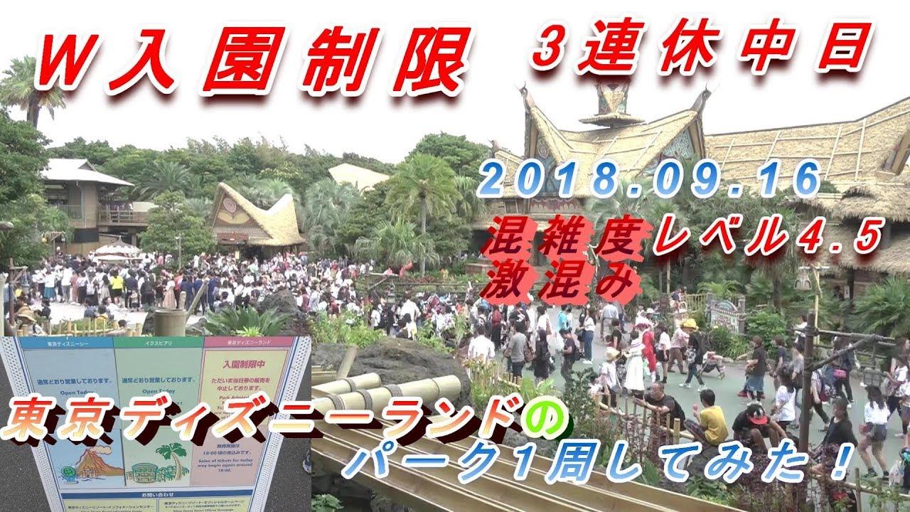 w入園制限] 3連休中日の大混雑の東京ディズニーランドのパークを1周して