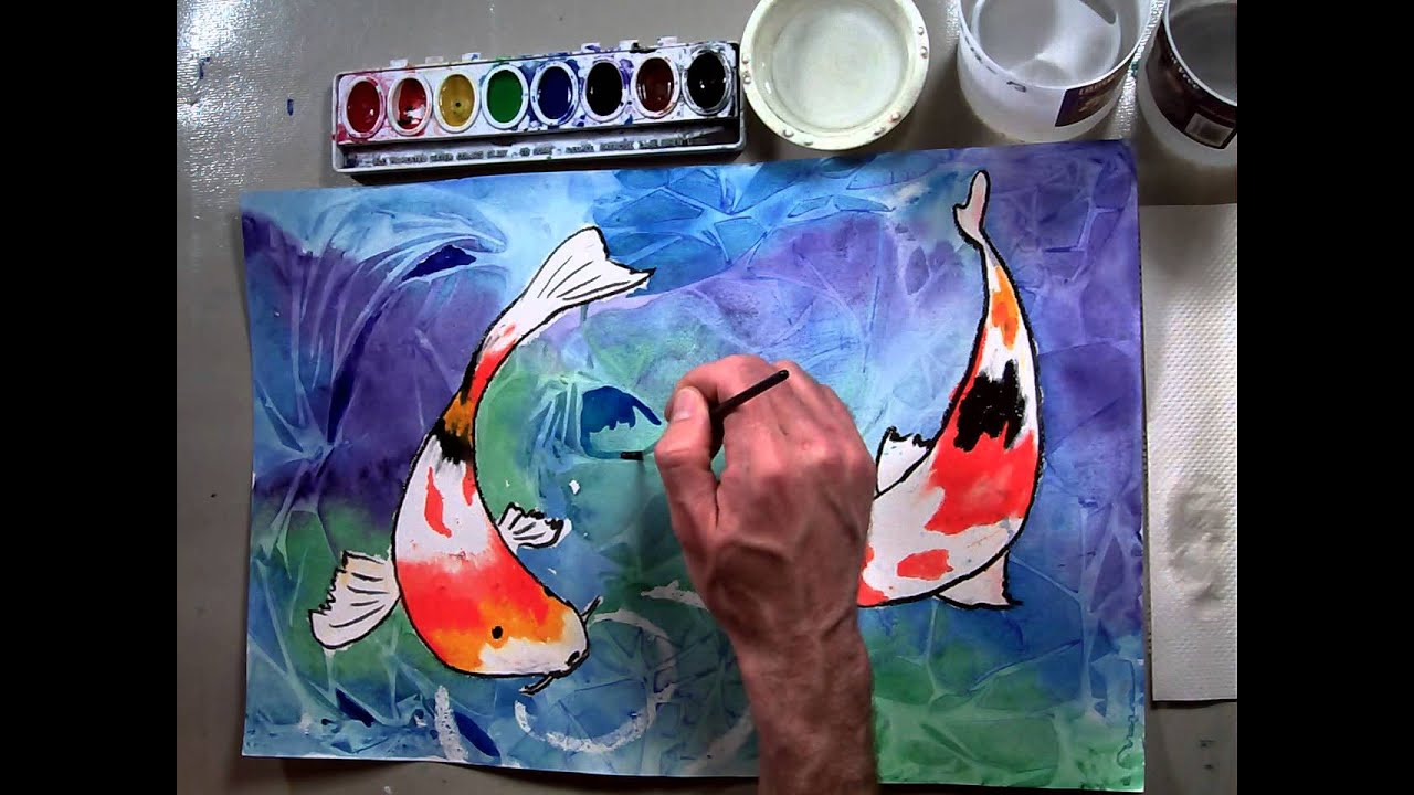Koi fish pond enhancing the water mosaic part 5 6 youtube for Fish out of water watercolor
