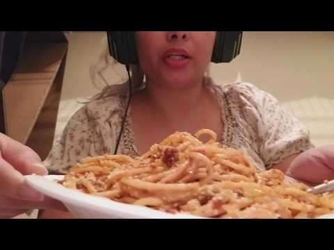 ASMR/ Homemade spaghetti with ground beef eating with chopsticks/Eating sounds