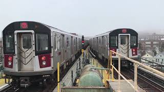 NYC Subway HD 60fps: Kawasaki R188 7 Express & Local Trains Depart 61st Street–Woodside (4/9/19)