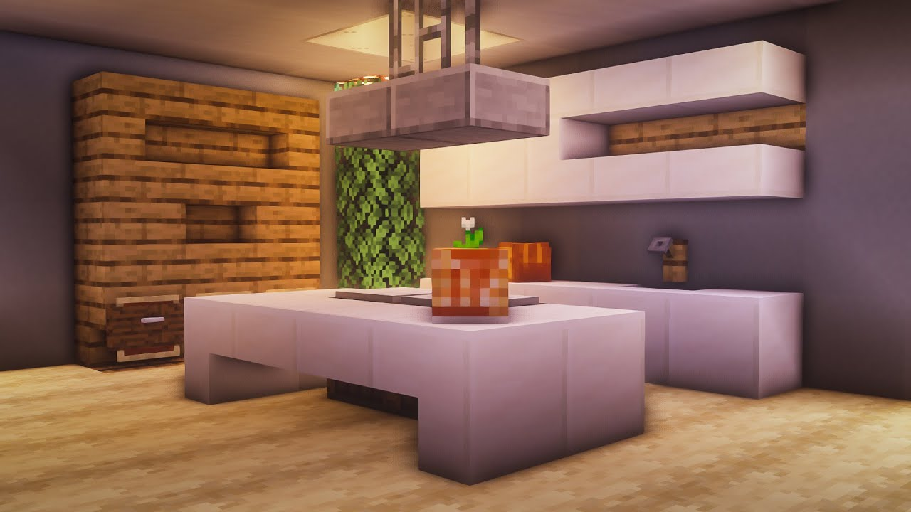 Minecraft How To Build A Modern Working Kitchen Youtube
