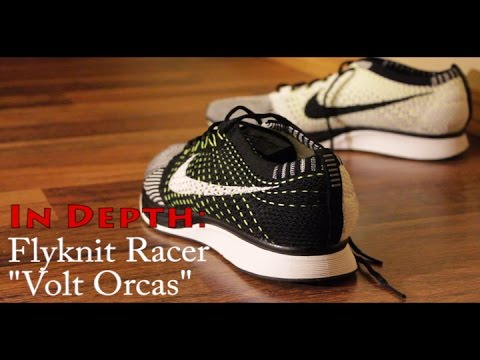 90523b368b2e5 Nike Flyknit Racer Black White + Volt flywire (in DEPTH ON FEET ...