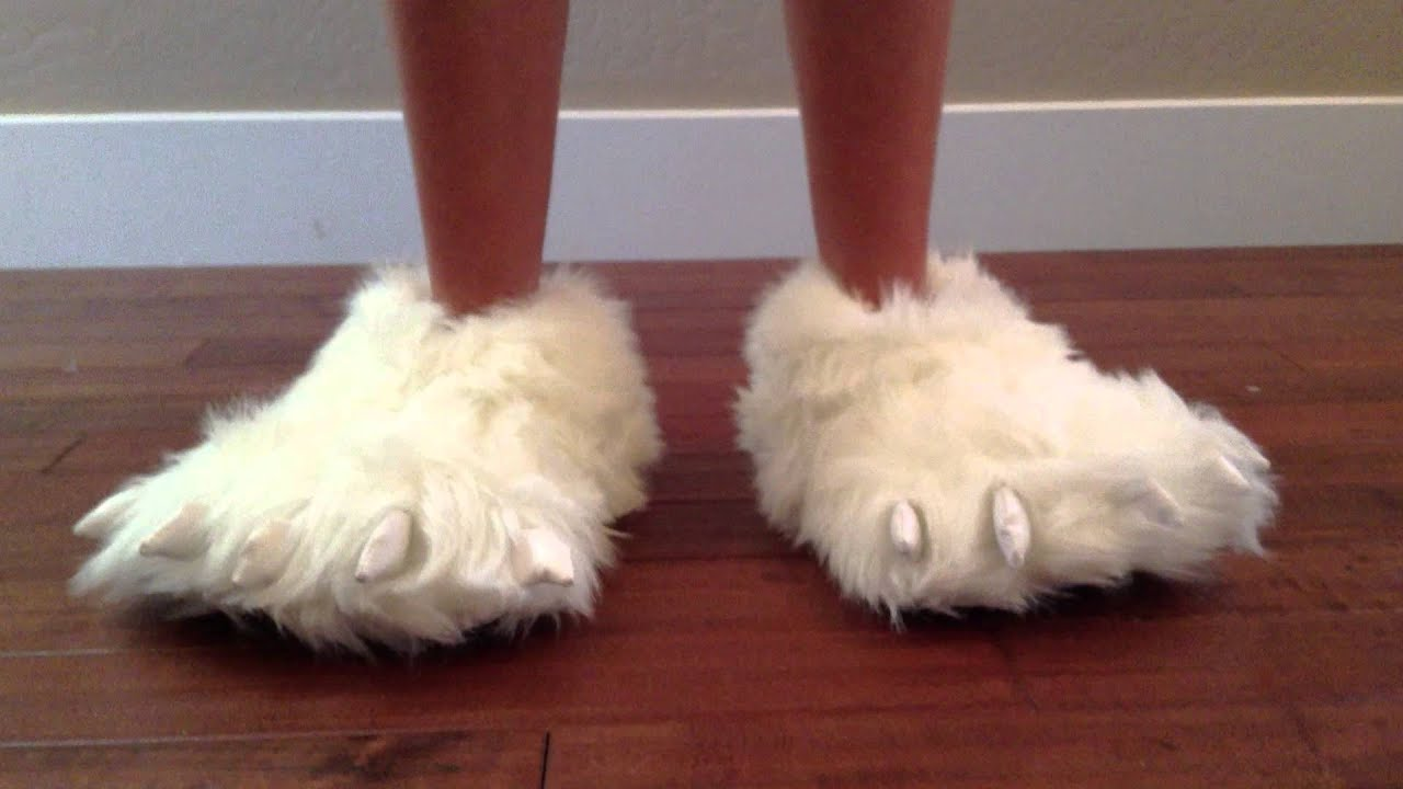 Polar Bear Paw Slippers - YouTube