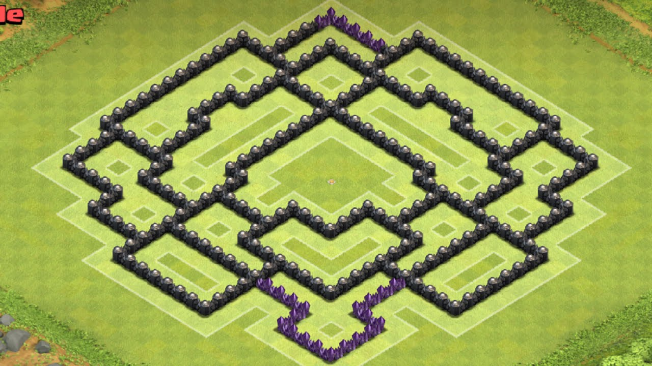clash of clans th9 clan wars base land mine replay youtube