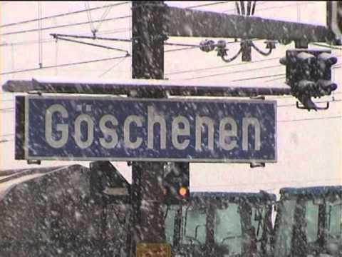 012 Göschenen station in winter in 2000 - CLASSIC GOTTHARD Railway in real WINTER