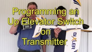 Up Elevator Switch for Mix on DX8 transmitter to Launch Pusher Prop glider