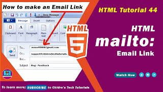 HTML video tutorial - 44 - html link to email address