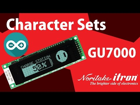 Noritake VFD: GU128X32D-7003 Character Set Demo using Arduino