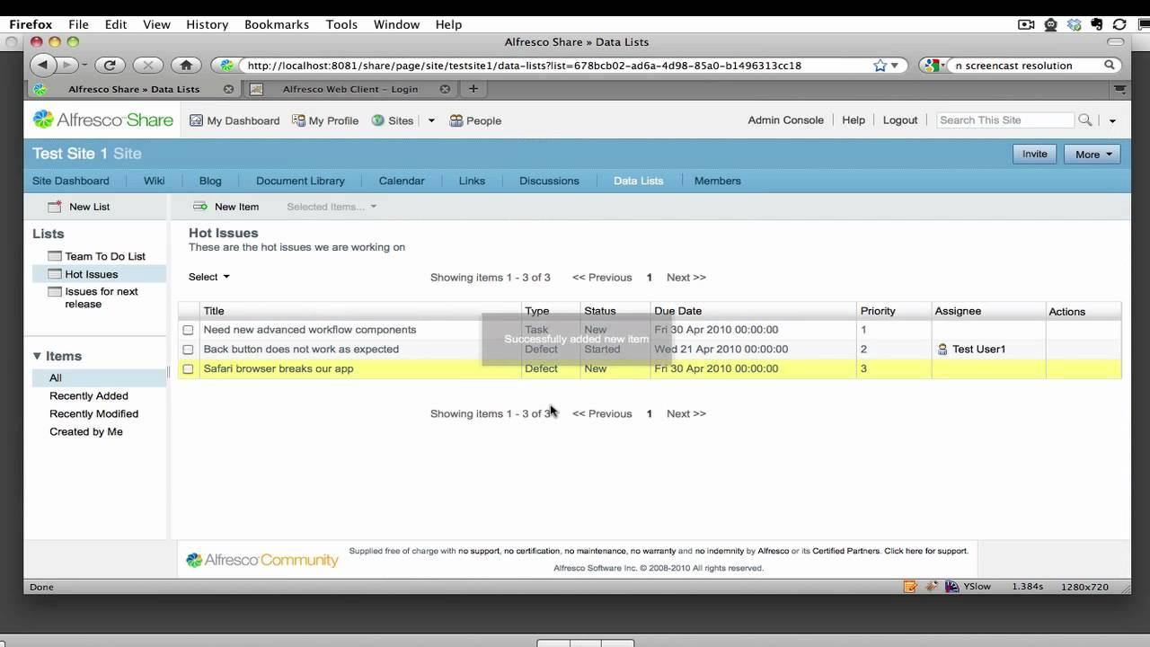 Custom Data Lists in Alfresco 3 3
