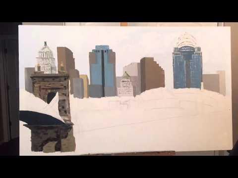 Cincinnati Skyline – palette knife painting time lapse