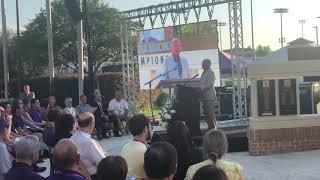 LSU baseball coach Paul Mainieri speaks at Skip Bertman's statue unveiling