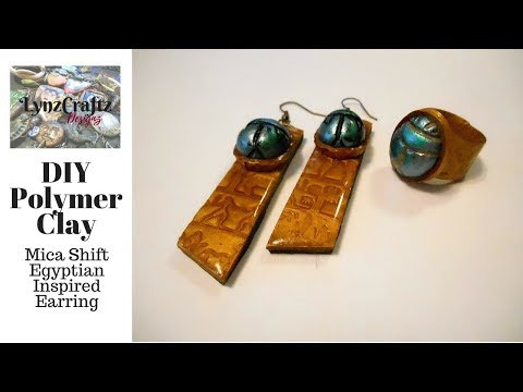 DIY Polymer Clay Egyptian Inspired Mica Shift Earrings