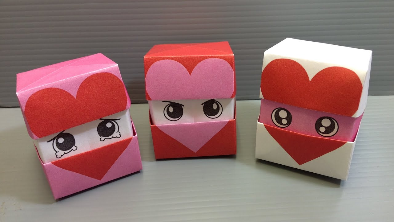 origami changing faces heart cube - print at home - youtube, Ideas