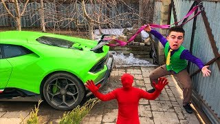 Red Man tied Car with Rope VS Mr. Joe on Lamborghini Huracan Performance Started Race for Kids