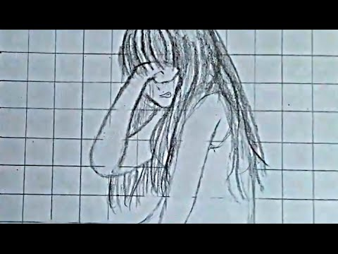 how to easy draw crying girl sketch youtube